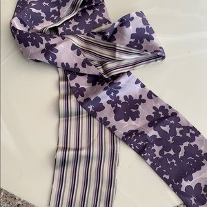 Scarf silk reversible stripe/floral-purple/white